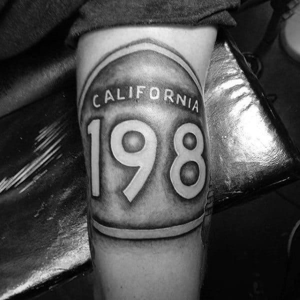 California Road Sign 198 Mens Leg Tattoo Ideas