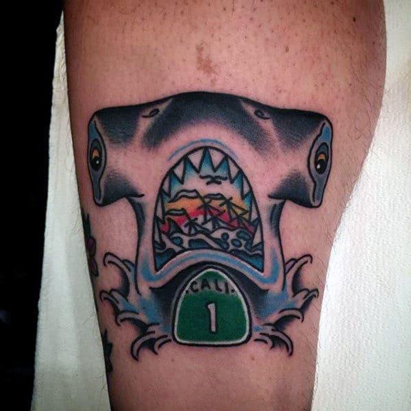 California Road Sign Hammerhead Shark Mens Arm Tattoo