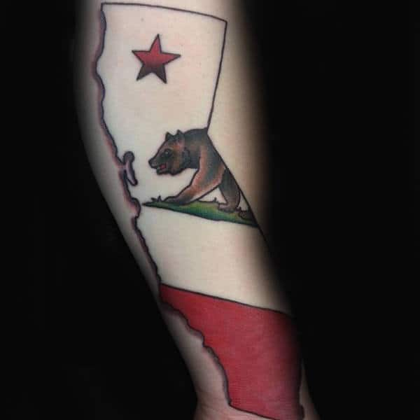 California State Flag Mens Arm Tattoo