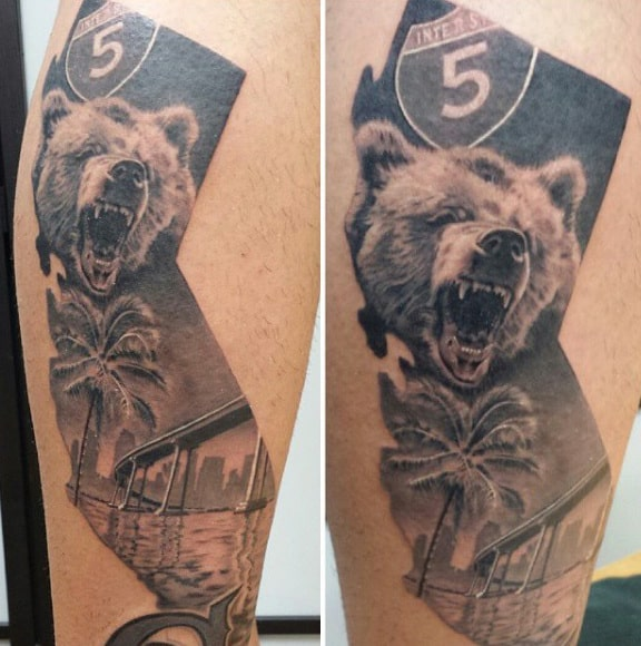 California State Mens Bear And Bridge Leg Tattoo On Man