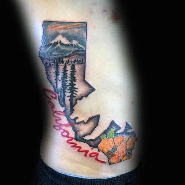 California Themed Mens Rib Cage Tattoo With Negative Space Bear Design
