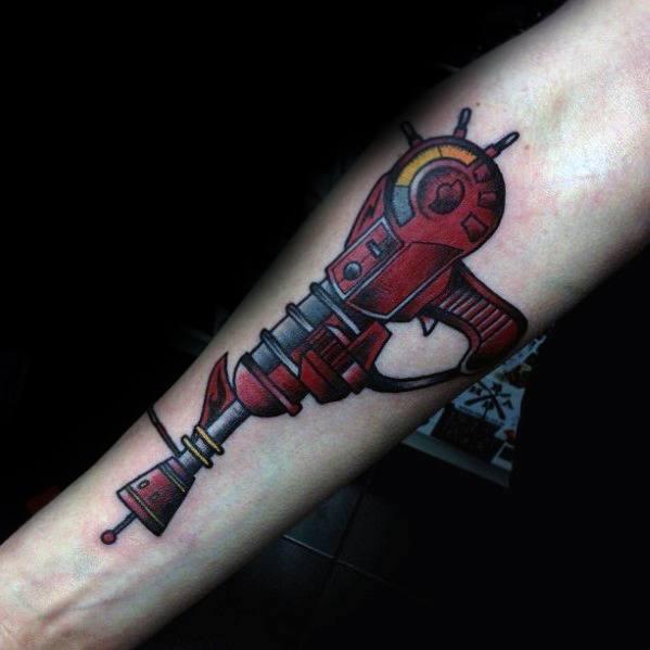 Call Of Duty Ray Gun Inner Forearm Tattoo Designs For Men