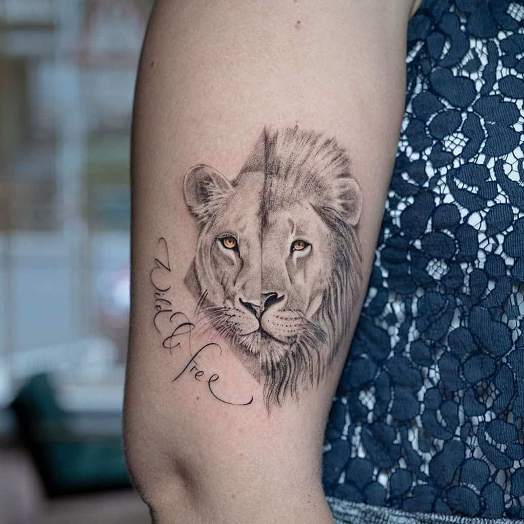 Calligraphy Realistic Lioness Tattoo
