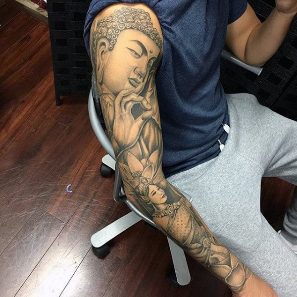 Calm Buddha Religious Tattoo Sleeves