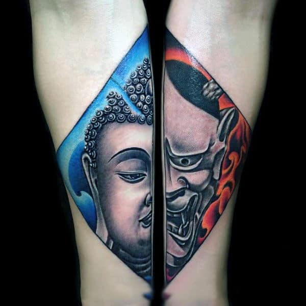 Calm Versus Disturbed Buddhism Tattoo On Forearms For Guys