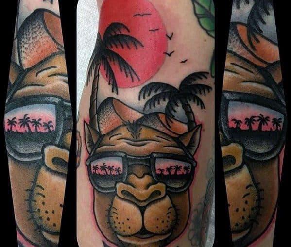 Camel Palm Trees Desert Arm Tattoo For Men