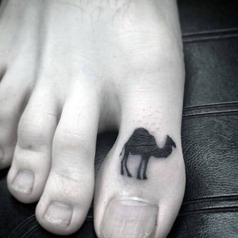 Camel Tattoo On Toe With Black Ink For Guys