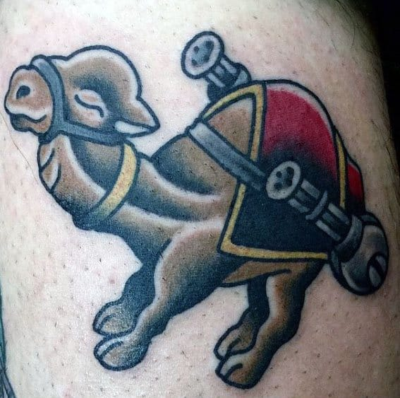 Camel With Machine Guns Mens Traditional Arm Tattoo