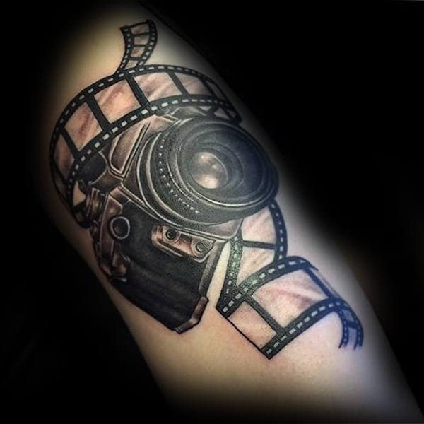 Camera And Negative Tattoo Male Forearms