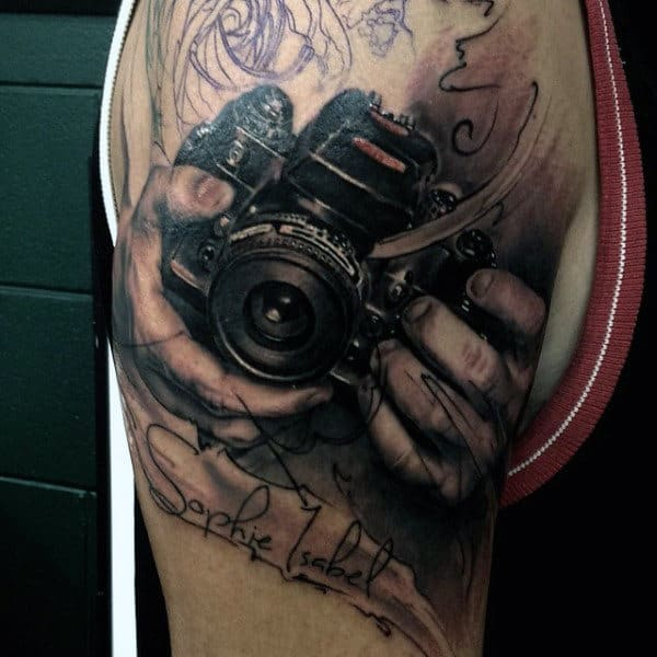 Camera Held By Hand Mens Arms Tattoos