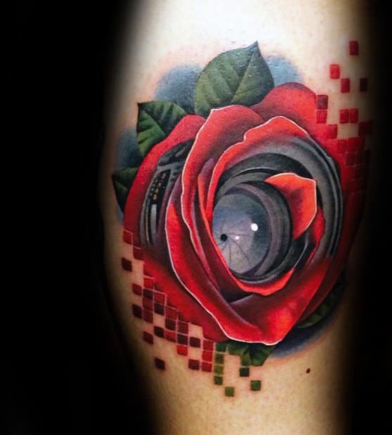 Camera Lens Realistic Mens Rose Flower Arm Tattoos