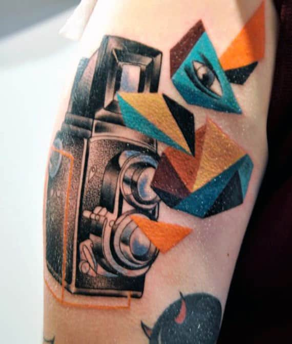 Camera Tattoo Colored Elements Male Forearms