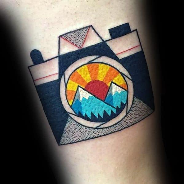 Camera With Rising Sun Small Colorful Arm Tattoo