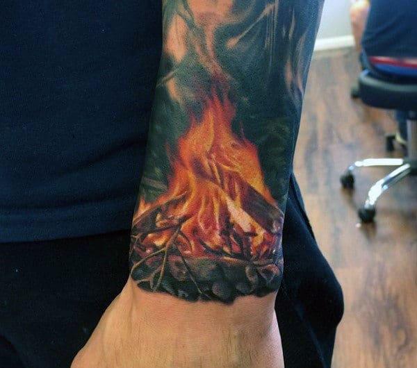 Campfire Badass Quarter Sleeve Wrist Tattoos For Guys