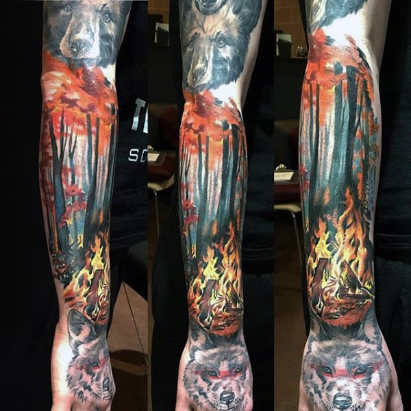 Campfire Mens Sleeve Tattoo With Forest Background