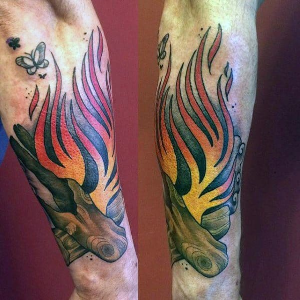 Campfire Tattoo Design Ideas For Males