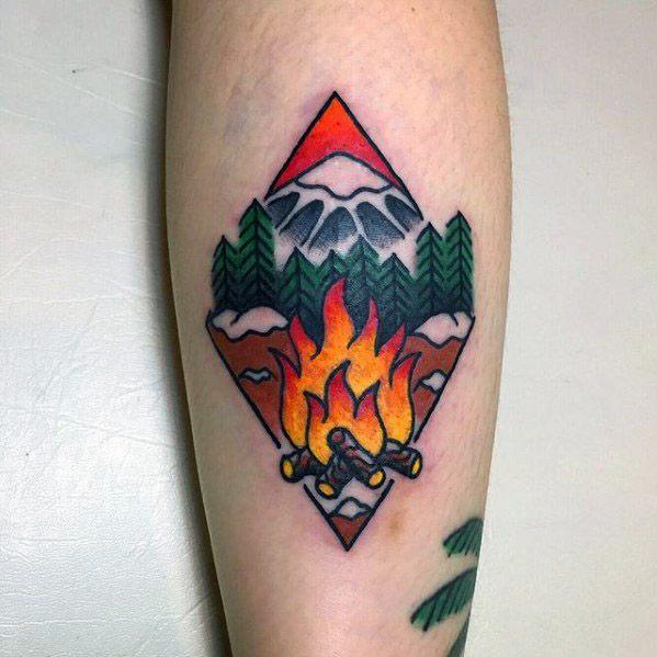 Campfire Tattoo Design On Man