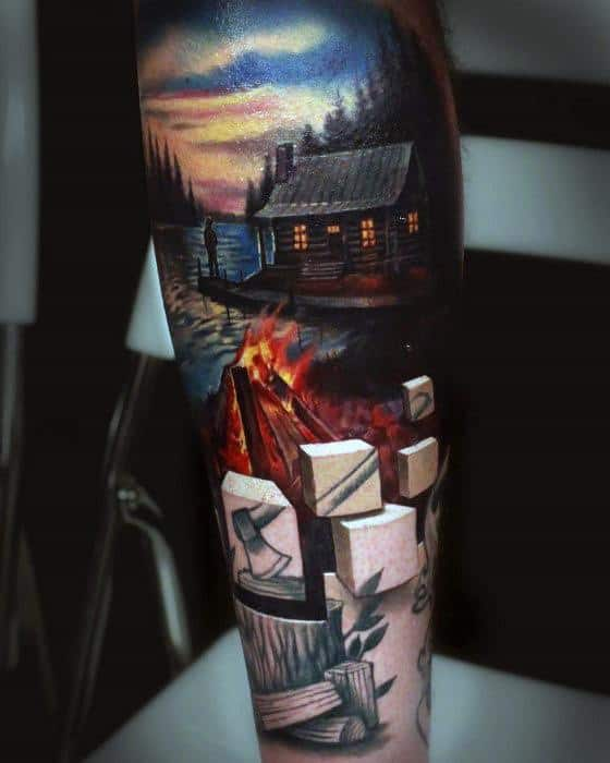Campfire Tattoos Guys