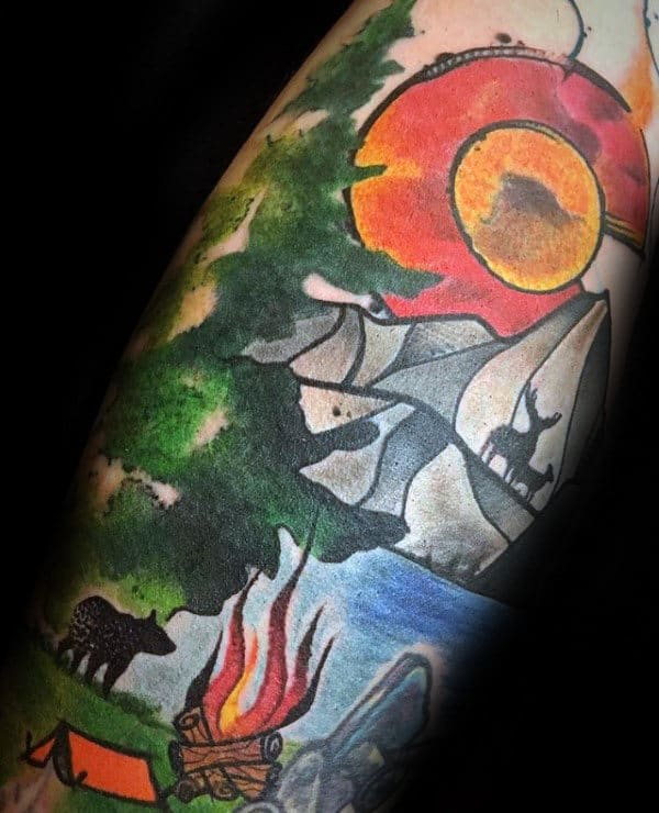 Campfire With Nature Scene Colorado Mens Watercolor Tattoos