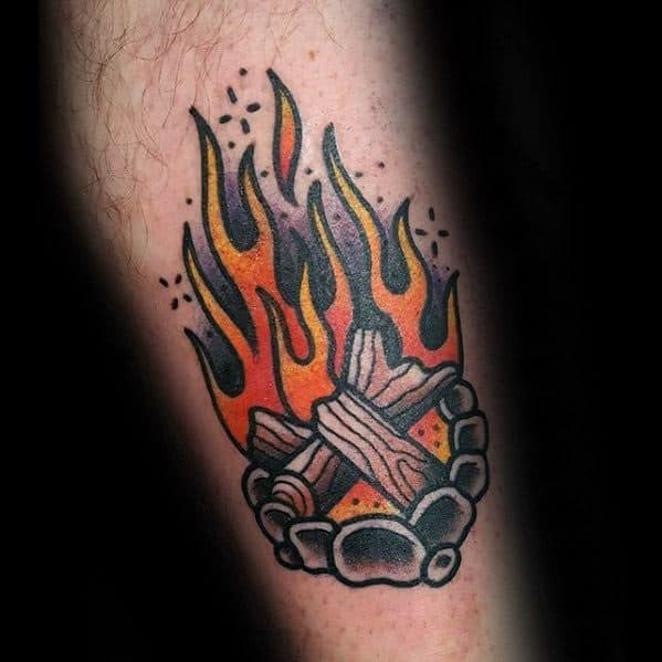 Camping Log Fire Traditional Inner Forearm Male Tattoo Designs