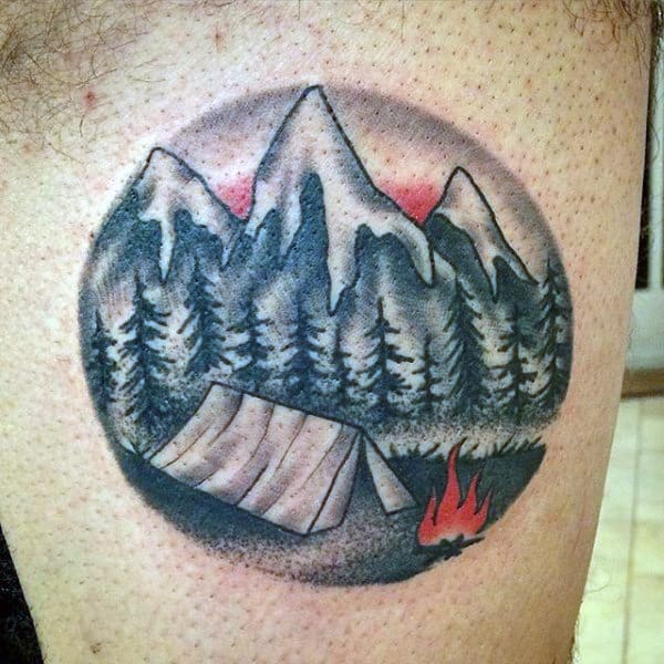 Camping Rocky Mountain Tattoo For Men