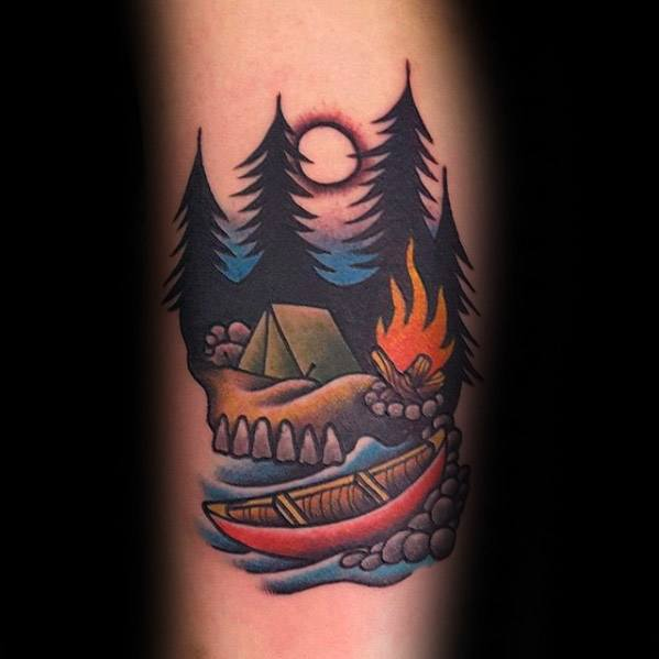 Camping Tattoos For Gentlemen On Arm