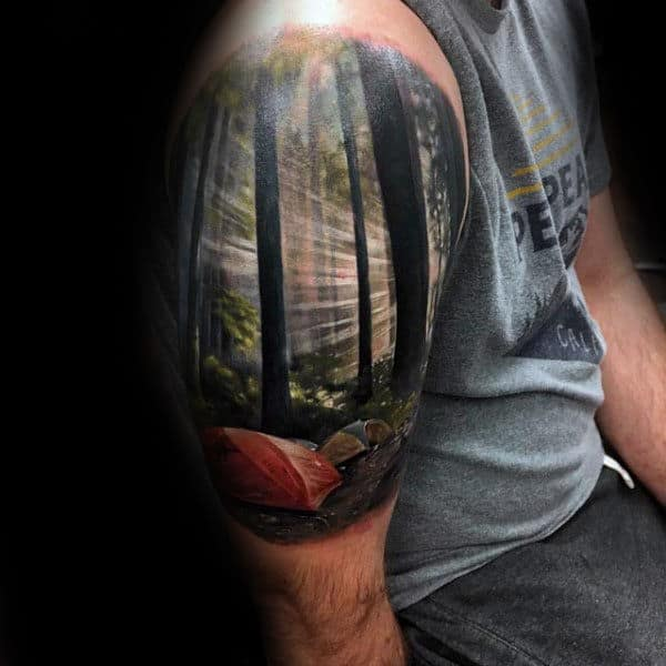 Camping Tent In Woods Realistic Landscape Arm Tattoos For Guys With 3d Design
