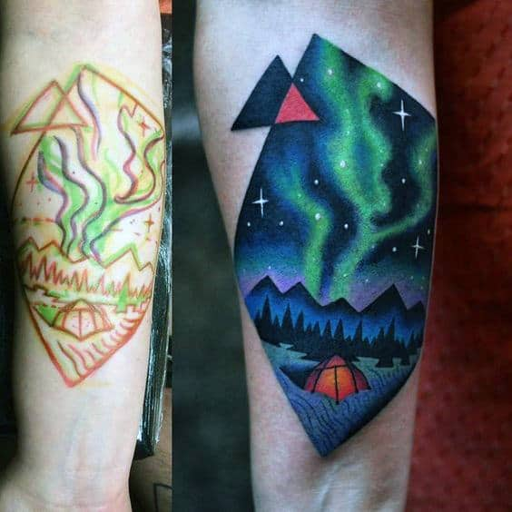 Camping Tent Modern Northern Lights Tricep Tattoos For Men