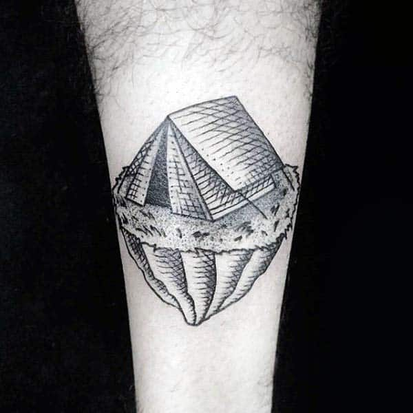 Camping Tent On Cliff Woodcut Guys Tattoos