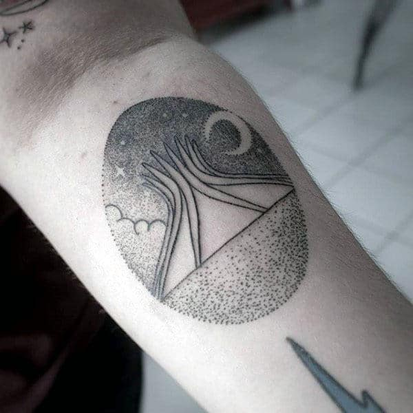 Camping Tent Pointillism Mens Small Arm Tattoo Ideas
