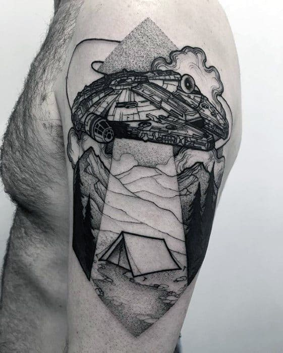 Camping Tent With Alien Spaceship Arm Incredible Tattoo Ideas For Gentlemen