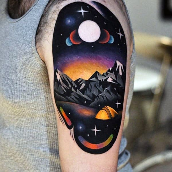Camping Tent With Moon Phases Amazing Modern Mens Upper Arm Tattoos