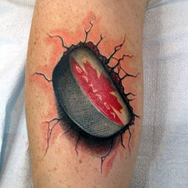 Canada Hockey Puck 3d Broken Stone Mens Leg Tattoos