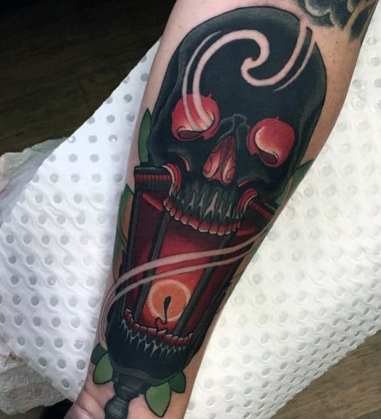 Candl Flaming Skull Tattoos For Men