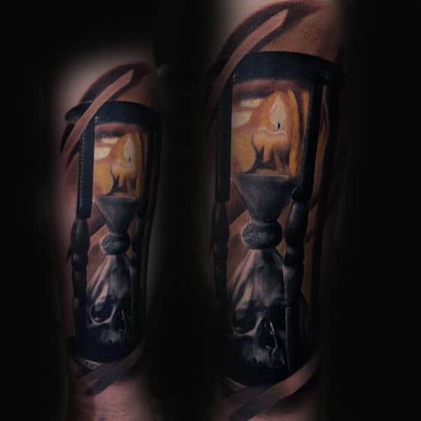 Candle Burning Fire Tattoo With Hourglass For Men