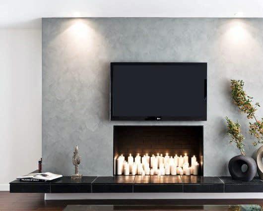 Candle Concrete Fireplace Design