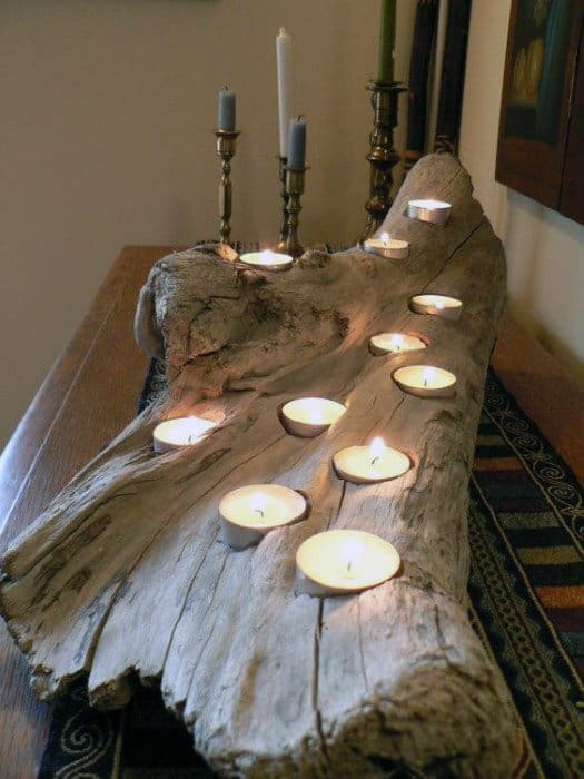 Candle Holder Wood Log Cheap Man Cave Ideas