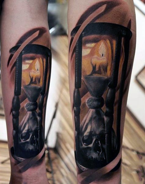Candle With Skull In Hourglass Design For Mens Tattoos