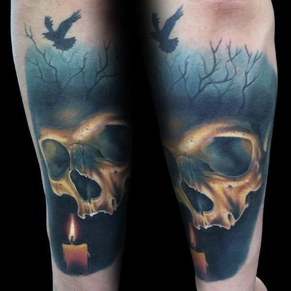 Candle With Skull In Woods Realistic Mens Forearm Tattoo