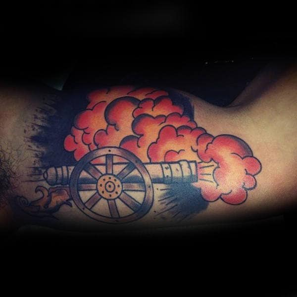 Cannon Inner Arm Guys Tattoos