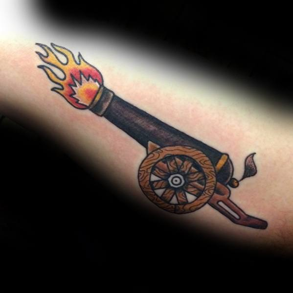 Cannon Tattoo Designs For Guys On Inner Arm Bicep