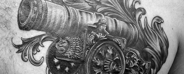 40 Cannon Tattoo Designs For Men – Explosive Ink Ideas