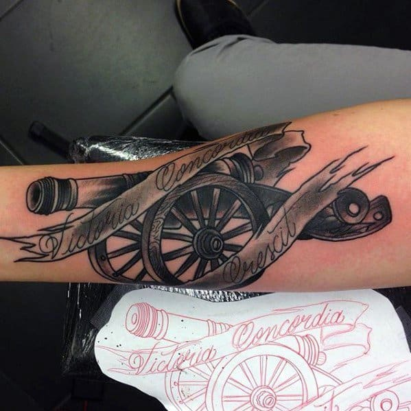 Cannon Tattoo Ideas For Males On Inner Forearm With Banner Design