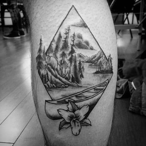 40 canoe tattoo designs for men kayak ink ideas. Black Bedroom Furniture Sets. Home Design Ideas