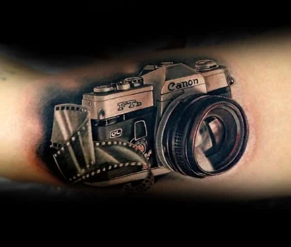 Canon Realistic Camera Tattoo Mans Forearms