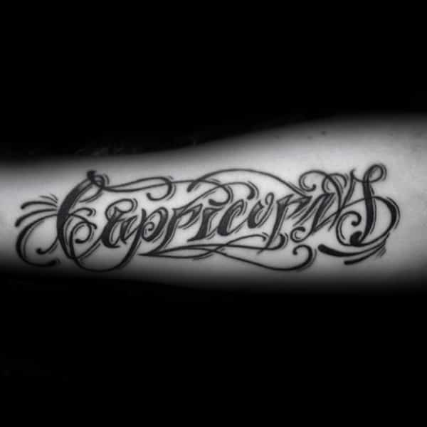 Capricorn Lettering Mens Word Tattoos On Inner Forearms