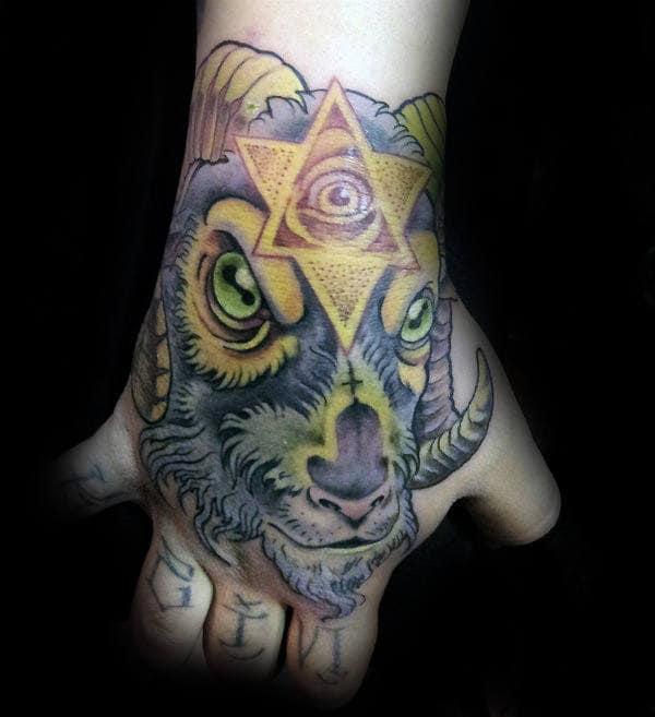 Capricorn Mens Goat Hand Tattoos