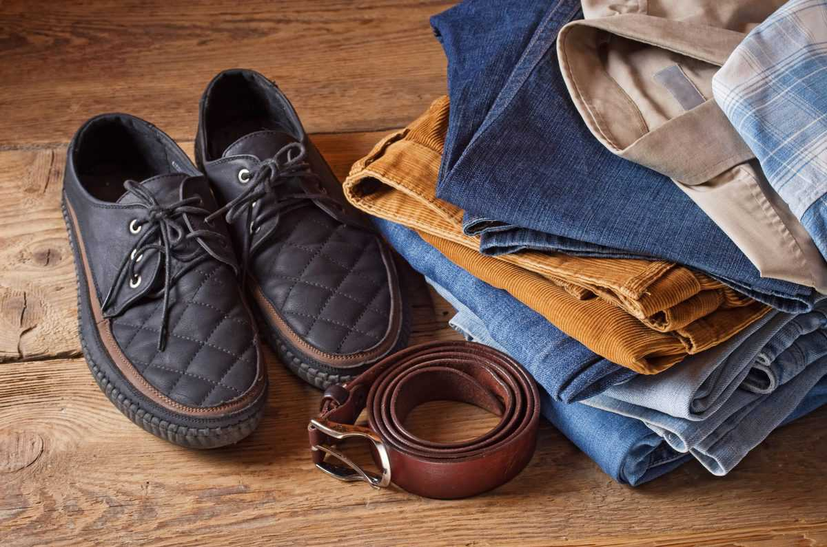 Clothes,And,Men's,Accessories,On,Brown,Wood,Background