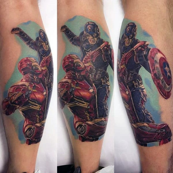 Captain America And Ironman Male Leg Calf Tattoos