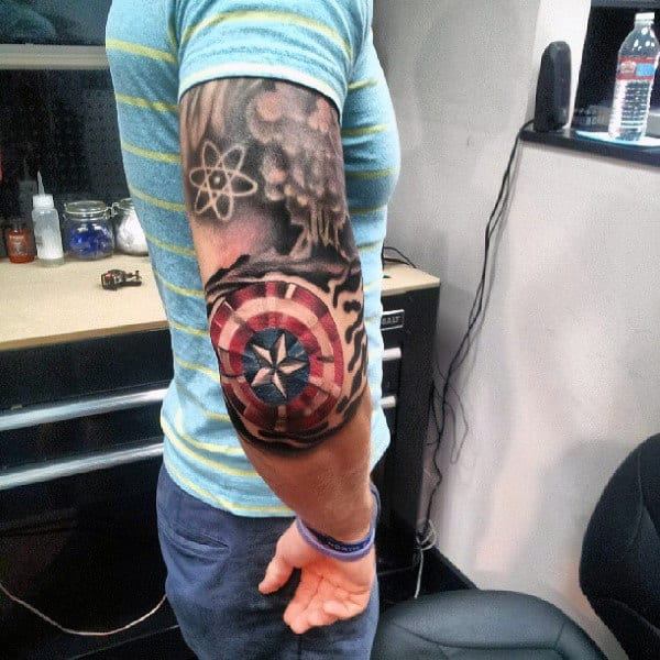 Captain America Shield Mens Elbow Tattoos